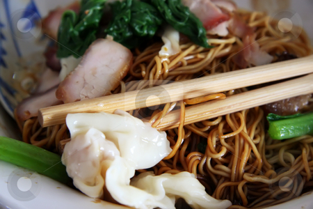 Chinese noodles stock photo, Traditional chinese noodle dish with soy sauce and sliced meat by Kheng Guan Toh