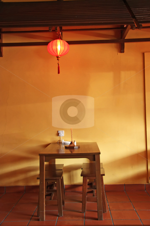 Chinese table stock photo, Traditional chinese dining table and stools with lantern by Kheng Guan Toh