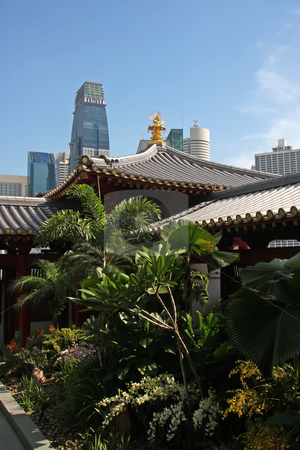 Temple against city stock photo, Ancient chinese temple against modern city skyline with skyscraper by Kheng Guan Toh