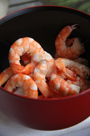Cooked prawns stock photo, Whole fresh peeled cooked prawns in bowl by Kheng Guan Toh