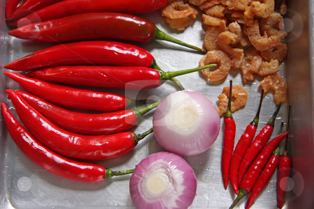Asian ingredients stock photo, Fresh asian cooking ingredients chillis dried prawns and onions by Kheng Guan Toh