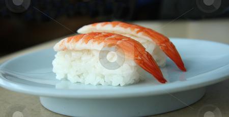 Ebi sushi stock photo, Ebi sushi prawns on rice traditional japanese food by Kheng Guan Toh