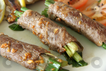 Beef rolls stock photo, Beef wrapped around spring onions japanese cuisine by Kheng Guan Toh