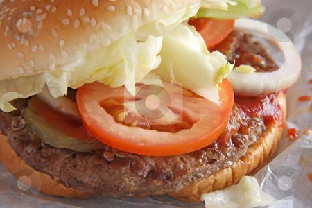 Hamburger stock photo, Fastfood hamburger bun on paper wrapper by Kheng Guan Toh