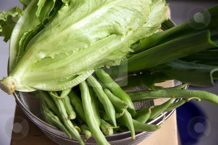 Fresh lettuce stock photo, Fresh lettuce and green vegetables in colander by Kheng Guan Toh