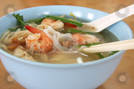 Chinese prawn noodle soup stock photo, Chinese noodle soup with prawns in bowl by Kheng Guan Toh