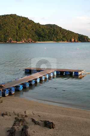 Tropical docks stock photo, Makeshift floating docks on tropical ocean beachside by Kheng Guan Toh
