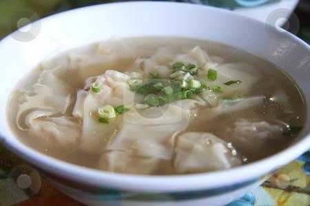 Wonton soup stock photo, Chinese wonton traditional stuffed dumplings in soup by Kheng Guan Toh