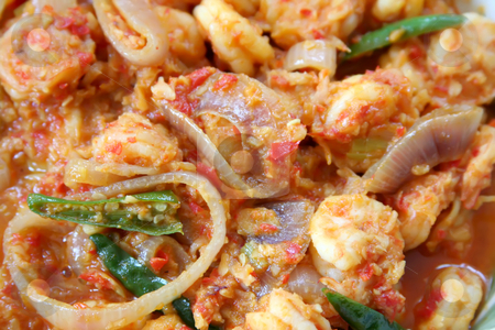 Spicy prawns stock photo, Spicy prawn dish traditional tropical asian cuisine by Kheng Guan Toh