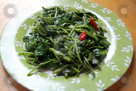 Spicy vegetables stock photo, Plate of spicy asian cooked vegetables with chillis by Kheng Guan Toh