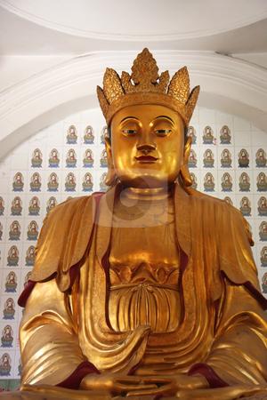 Buddha statue stock photo, Golden statue of buddha inside a chinese temple by Kheng Guan Toh