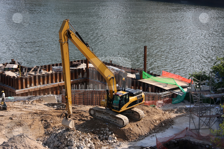 Construction site stock photo, Waterside construction digging project in Singapore by Kheng Guan Toh