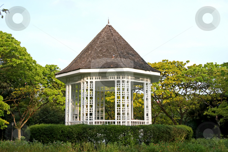 Park gazebo stock photo, White ornamental gazebo ret area in park by Kheng Guan Toh