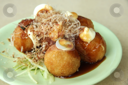 Tokoyaki octopus stock photo, Takoyaki fried battered octopus balls traditional japanese cuisine by Kheng Guan Toh