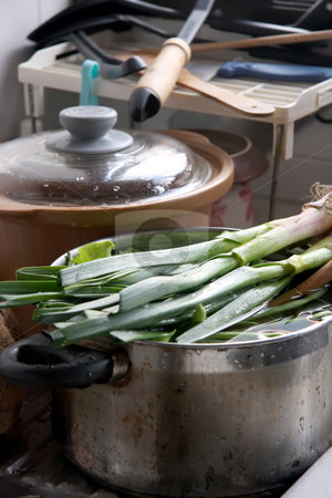 Kitchen vegetables stock photo, Fresh green vegetables in a pot, kitchen scene by Kheng Guan Toh