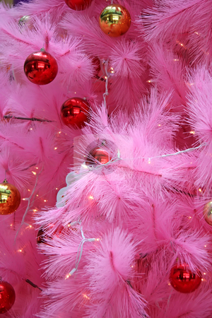 Pink christmas stock photo, Closeup of a pink christmas tree with ornaments by Kheng Guan Toh