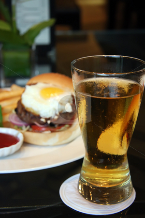 Burger and beer stock photo, Fancy burger with egg and a glass of beer by Kheng Guan Toh