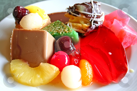 Assorted deserts stock photo, Assorted desserts pastries and jellies in a plate by Kheng Guan Toh