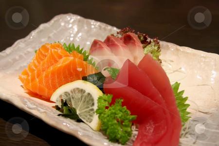 Plate of sashimi stock photo, Arrangement of sashimi sliced raw japanese fish dish by Kheng Guan Toh