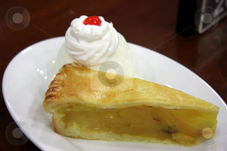 Apple pie with ice cream stock photo, Apple pie ala mode with vanilla ice cream by Kheng Guan Toh