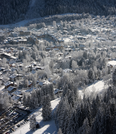 Ski resort town stock photo, Panoramic view of a ski resort town in the French Alps by Kheng Guan Toh
