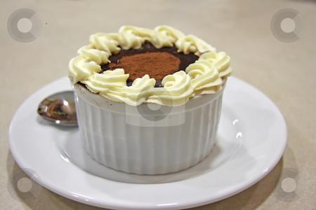 Pudding in ceramic bowl stock photo, Tiramisu chocolate pudding with icing in ceramic bowl by Kheng Guan Toh