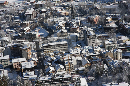 Chamonix in winter stock photo, Panoramic view of the French ski resort of Chamonix in wintertime by Kheng Guan Toh