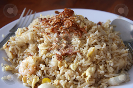 Fried rice stock photo, Fried rice traditional asian cuisine on plate by Kheng Guan Toh
