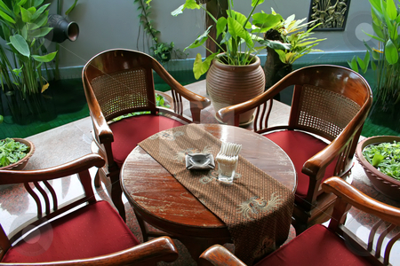 Balinese furniture stock photo, Wooden table and chairs in tropical balinese style by Kheng Guan Toh