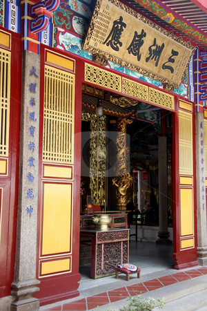 Chinese temple entrance stock photo, Wooden entrance to the main praying area in a Chinese temple by Kheng Guan Toh