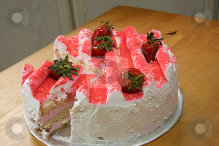 Strawberry cake stock photo, Strawberry cream cake with icing and fresh fruit by Kheng Guan Toh