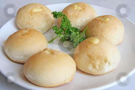 Bread rolls stock photo, Bread rolls stuffed with cheese on plate by Kheng Guan Toh
