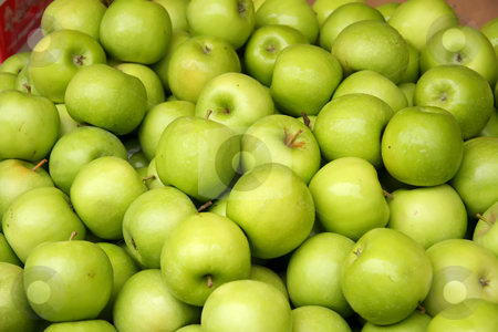 Pile of green apples stock photo, Pile of many fresh green apples in the market by Kheng Guan Toh