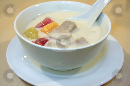 Asian dessert stock photo, Traditiional asian sweet dessert of coconut milk and fruits by Kheng Guan Toh