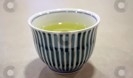 Bowl of green tea stock photo, Bowl of green tea in white blue bowl traditional japanese beverage by Kheng Guan Toh