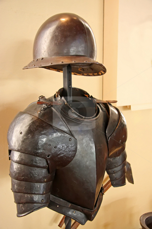 Ancient armor stock photo, Museum display of ancient medieval metal armor by Kheng Guan Toh