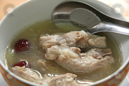 Chinese pork soup stock photo, Pork rib soup traditional chinese cuisine clear broth by Kheng Guan Toh