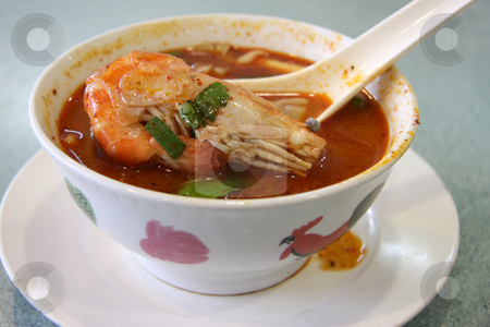 Spicy thomyam soup stock photo, Spicy thomyam seafood soup traditional thai cuisine by Kheng Guan Toh