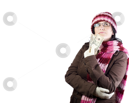 Shopping girl stock photo, Adult woman thinking about what to buy holding dollar bills by Ivan Montero