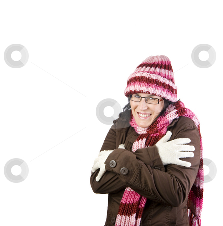 Freezing girl stock photo, Girl shaking and rubbing because of winter by Ivan Montero