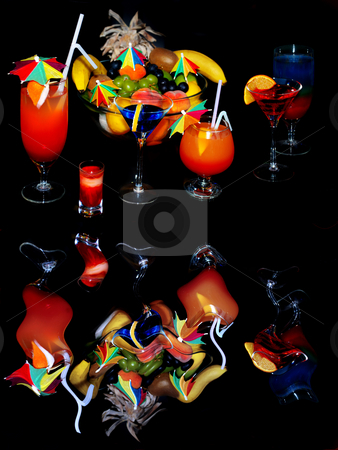 Attractive cocktails over black stock photo, Various glass drinks with reflection isolated over black by Julija Sapic
