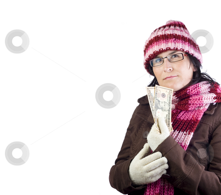Girl with dollar bills stock photo, Adult woman thinking about what to buy holding dollar bills by Ivan Montero