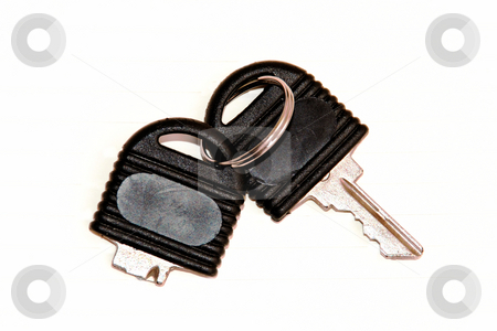 Broken key isolated stock photo, Broken black office key isolation over white close up by Julija Sapic
