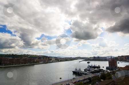 Tourism Bilbao stock photo, Stuary of Bilbao, Las Arenas Getxo and Portugalete with a beautiful cloudy sky by Ivan Montero