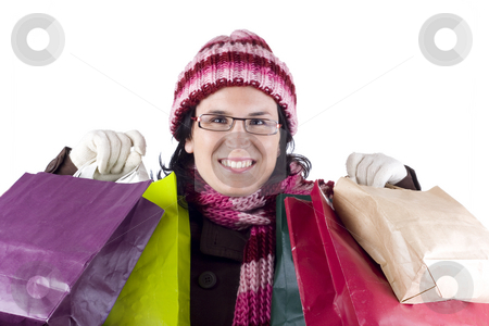 Woman with shopping bags stock photo, Girl with bags from a day of shopping by Ivan Montero