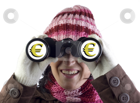 Girl with binoculars stock photo, Woman holding and looking through binoculars by Ivan Montero
