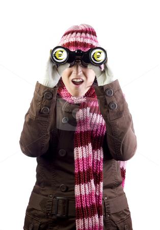 Girl with money binoculars stock photo, Woman holding and looking through binoculars by Ivan Montero