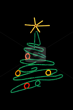 Christmas tree stock photo, Christmas tree made of lights in the night by Ivan Montero