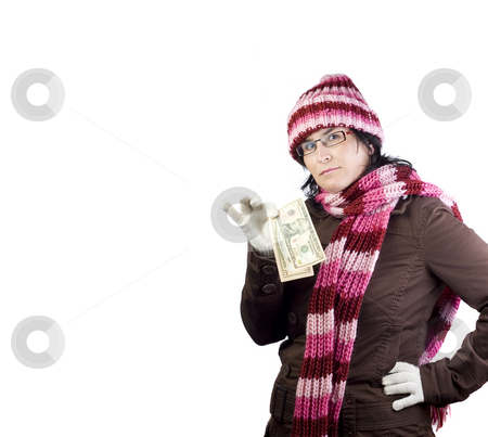Shopper girl stock photo, Adult christmas woman thinking in what to buy holding a dollar note by Ivan Montero