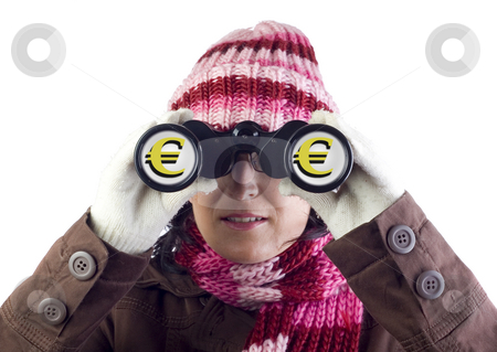 Financial forecaster stock photo, Woman holding and looking through binoculars by Ivan Montero